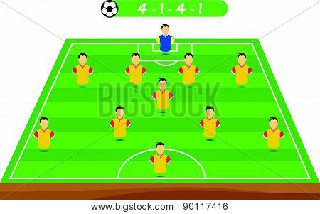 Football tactics and strategy - popular team formation. poster