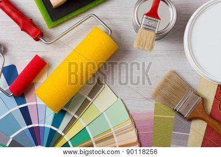 Decorator's Work Table With Tools