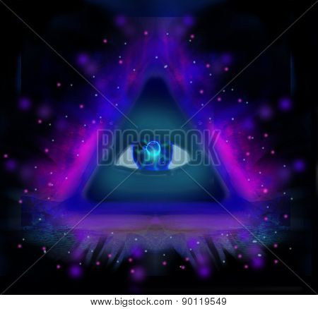 All seeing eye on black abstract background , raster poster