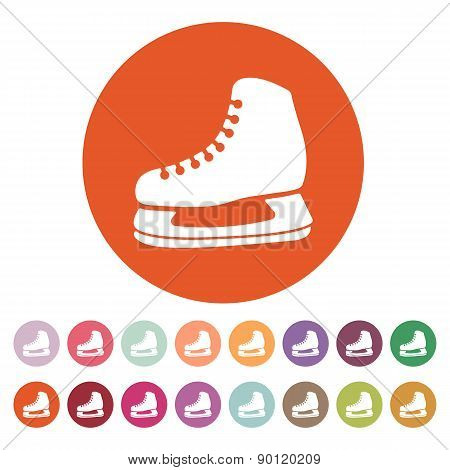 The skates icon. Hockey skates symbol. Flat Vector illustration. Button Set poster