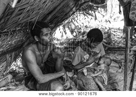Pattalung, Thailand - Mar 28 , 2015 : The Negrito Of Thailand. They Are A Saa-gai Tribe Who Live Pea