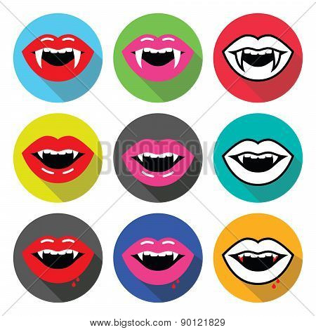 Vampire mouth, vampire teeth vector flat design icons set