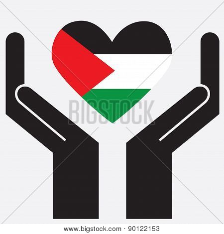 Hand showing Palestine flag in a heart shape. Vector illustration.