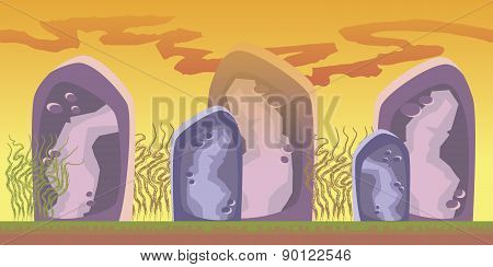 Cartoon Seamless Landscape, Vector Endless Background With Ground, Rocks, Clouds And Sky Layers