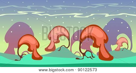 Cartoon Seamless Landscape, Vector Endless Background With Ground, Forest And Sky Layers