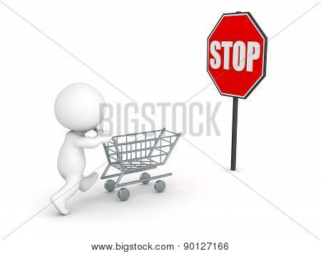 3D Character with Shopping Cart and Stop Sign - Stop Compulsive Shopping Concept