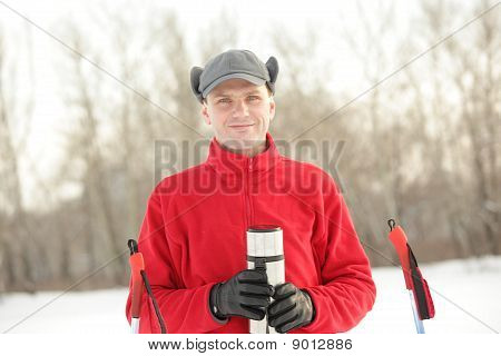 Skier With Thermos