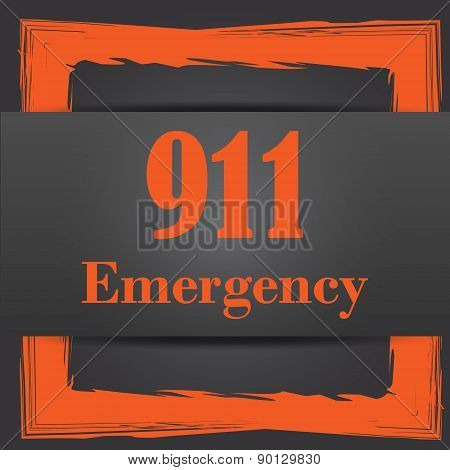 911 Emergency icon. Internet button on grey background. poster