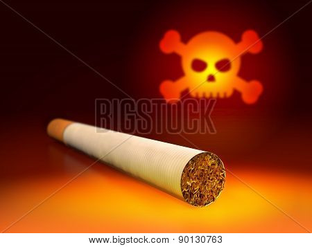 Skull and cigarette. 3d Illustration of anti-smoking concept.