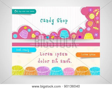 Stylish website header or banner set decorated with colorful candies for candy shop.