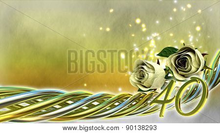 birthday concept with white roses and sparks - fortieth birthday poster