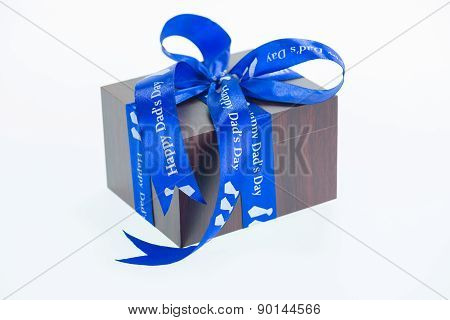Happy Dad's Day Ribbon Wrapped Around A Gift Box