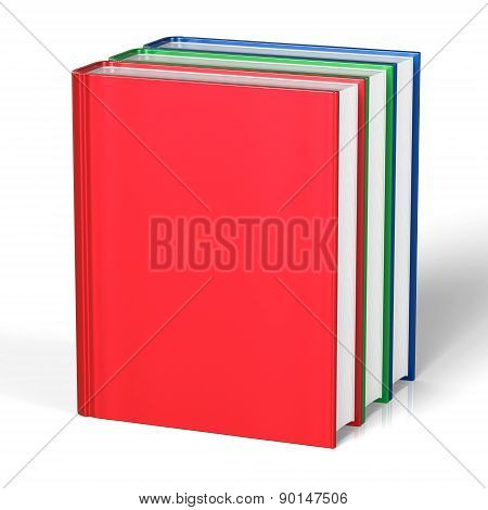 Blank Books Three Red Green Blue Cover Standing Empty