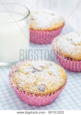Homemade Muffins With Choco Chips And Glass Of Milk