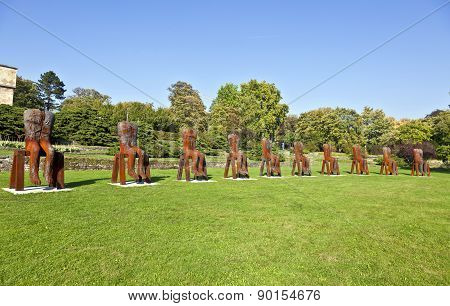 Magdalena Abakanowicz Shows His  Steel Sculptures In The University Area At Exhibition