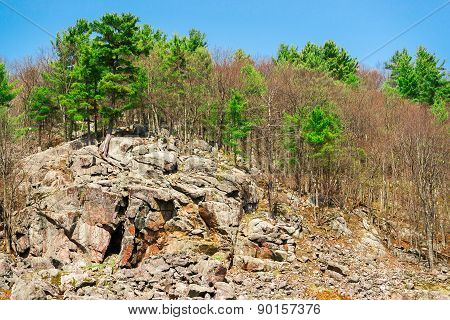Large Rocky Cliff In The Canadian Shield