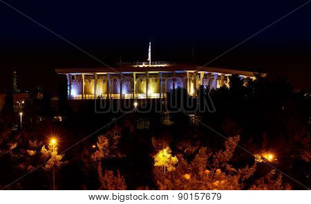 Knesset (the Parliament of Israel) at night