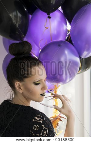Beautiful One-eyed Brunette With Long Nails And Balloons