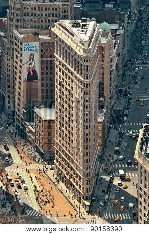 NEW YORK CITY, NY - DEC 30: Flatiron Building rooftop view on March 30, 2014 in New York City. Flatiron building designed by Chicago's Daniel Burnham was designated a New York City landmark in 1966.