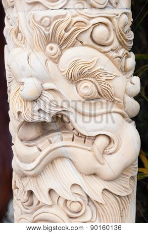 Carved Marble Column With Dragon Head