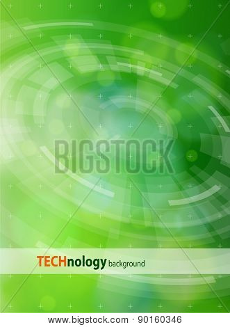 Ecology technology concept - radial HUD elements & green bokeh abstract light background / vector illustration / eps10