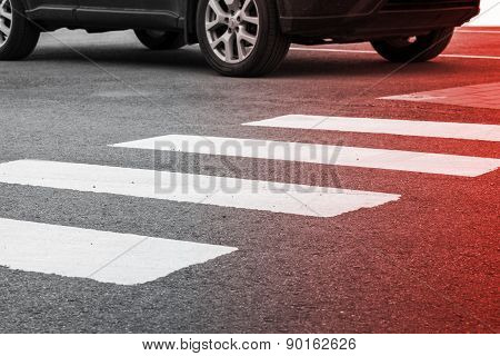 Pedestrian Crossing Road Marking And Moving Car