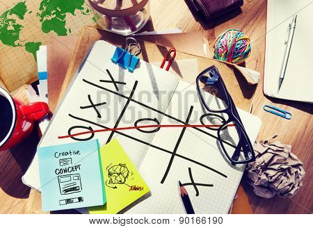 Tic Tac Toe Game Competition XO Win Challenge Concept poster