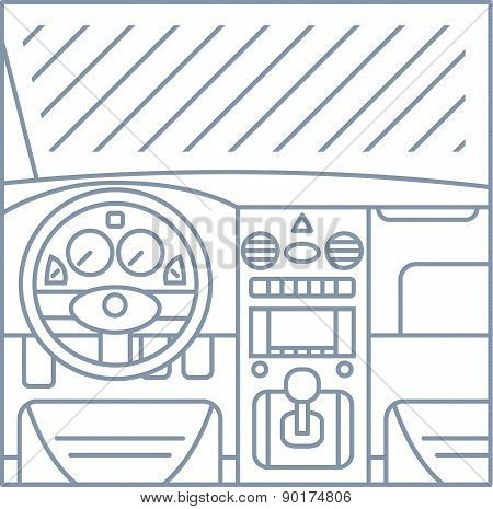 flat simple line illustration of car interior view - window, whell, panel, pedals