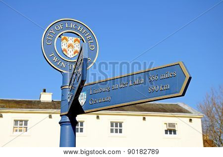 Twin town sign, Lichfield.
