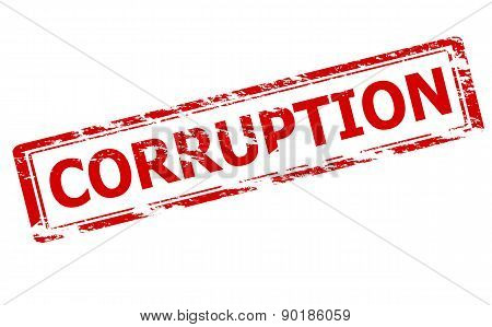 Rubber stamp with word corruption inside vector illustration poster