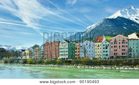 Historic Architecture And Snow Capped Mountains In Innsbruck, Austria
