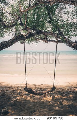 Swing On Beach Vintage