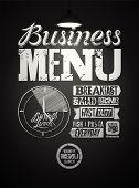 Restaurant menu typographic design on chalkboard. Vintage business lunch poster. Vector illustration. poster