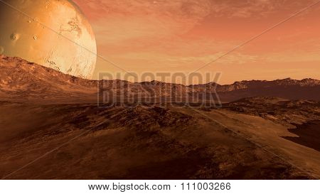 Red planet with Mars-like moon