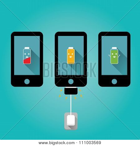 Modern illustration of friendly mobile charging on blue background