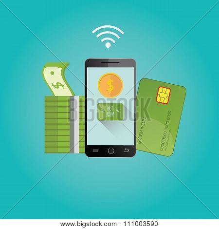 Modern illustration of online payments. Mobile payments technology.