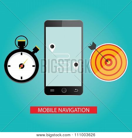 Modern illustration of mobile navigation on blue