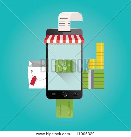 Modern Vector Illustration Of Online Shopping.