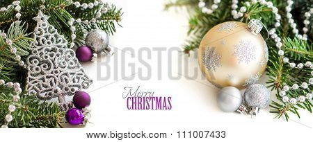 Silver,cream And Purple Christmas Ornaments