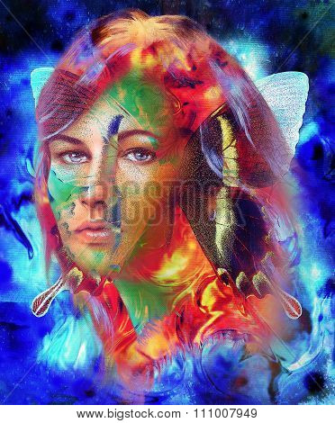 Beautiful Goddness women and color butterfly, mixed media, abstract color background.