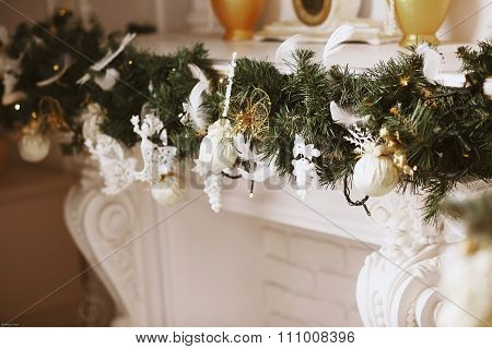 Beautiful Christmas Decorations On The Fireside