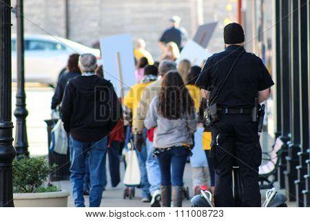 Rear View of People Walking Through Downtown Somerset, Kentucky