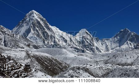 Mt Pumori And Other High Mountains In Nepal
