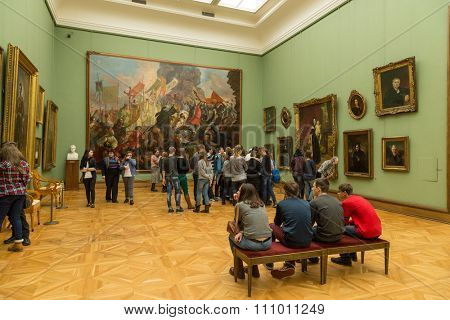 Moscow, Russia - November 5, 2015: The State Tretyakov Art Gallery in Moscow. The museum was founded in 1856 by merchant Pavel Tretyakov, the world's largest collection of Russian art.