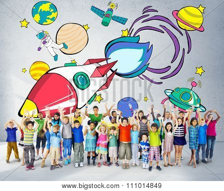 Rocket Launch Space Outerspace Planets Concept