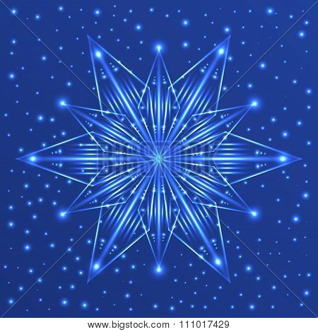 Fluorescent Star On Blue Background With Sparkles