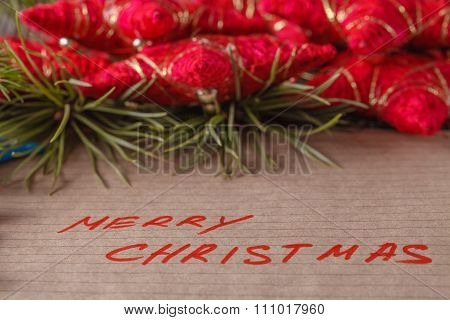 Text Merry Christmas On Crafted Papper