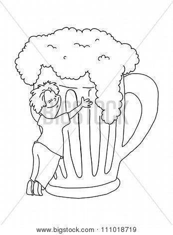 man hugging a mug of beer, cartoon illustration