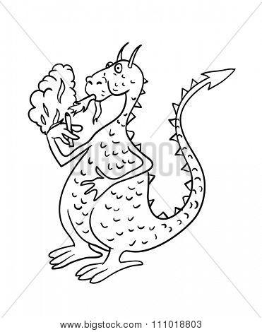 dragon smoking a cigarette, contour illustration
