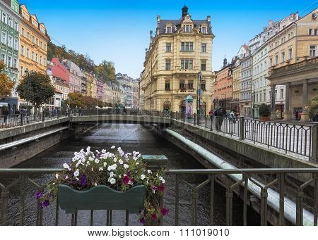 Historic city center with river of the spa town Karlovy Vary (Carlsbad